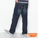 【5th STREET】獨具思維 皮飾窄直筒牛仔褲-男款(中古藍)