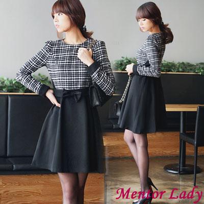【Mentor Lady】蘇格蘭格紋蝴蝶結毛料洋裝 (黑色)