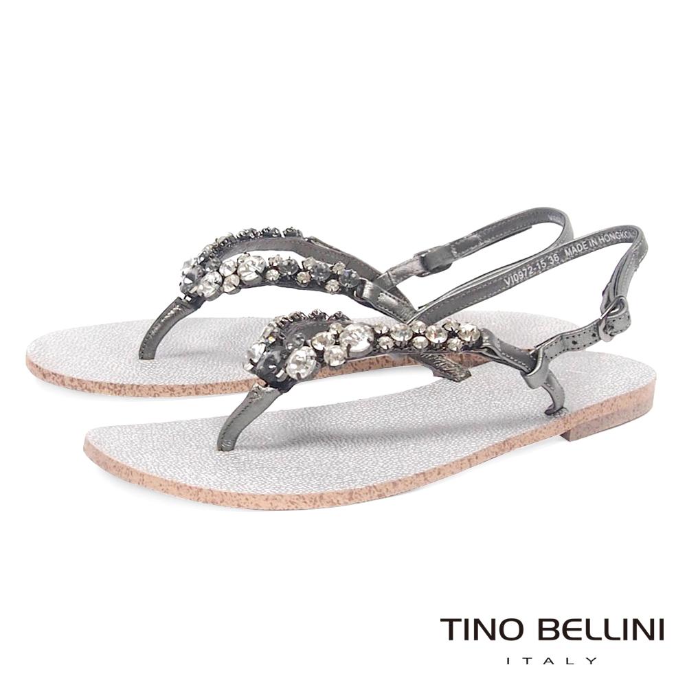 Tino Bellini璀璨寶石平底人字夾腳涼鞋_灰銀