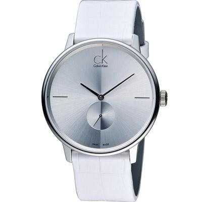 Calvin Klein Unisex Accent 獨立式小秒針時尚腕錶-白/40mm