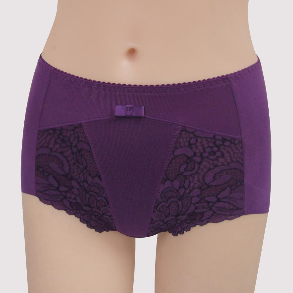 曼黛瑪璉-雙弧絲蛋白  高腰三角修飾褲(華麗紫)