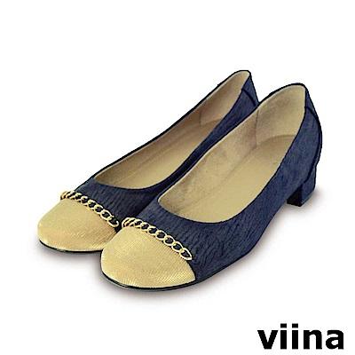 viina-復古奢華撞色金鍊低跟鞋-藍色
