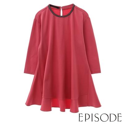 EPISODE-簡約珠飾素面傘擺造型七分袖上衣(粉)