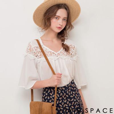 AIR SPACE 肩鏤空蕾絲荷葉袖傘襬上衣(白)