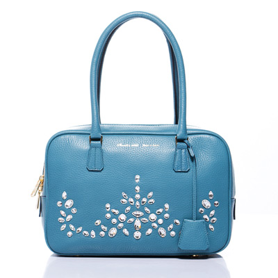 A.D.M.J.華麗水晶牛革 BOSTON BAG-Wedgwood Blue