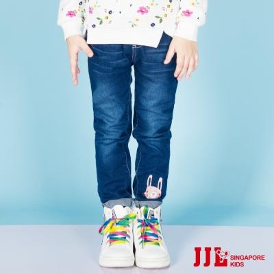 JJLKIDS 小兔反摺直筒內刷毛牛仔褲(牛仔藍)