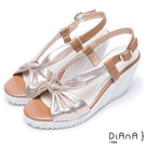 DIANA 夏日風情--扭結撞色異材質厚底楔形涼鞋 – 金