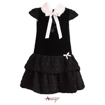 毛領拼接蕾絲金蔥洋裝*4210黑
