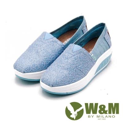 W&M BOUNCE系列 超彈力復古雲絲厚底增高 女鞋-藍(另有銀灰、黑)