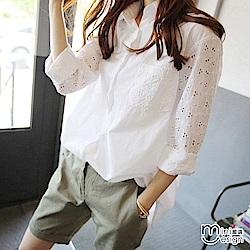 繡花鏤空長袖襯衫 白色-mini嚴選