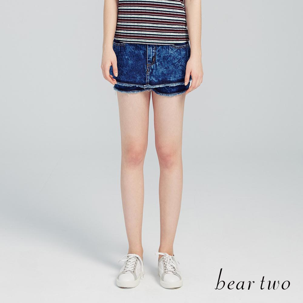 beartwo 雪花印染不修邊丹寧短褲(三色)-動態show