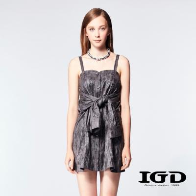 IGD英格麗-立體摺紋細肩帶仿襯衫洋裝