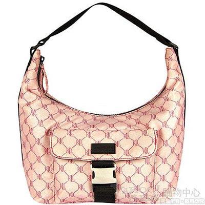 【RALPH LAUREN】粉紅色LOGO格紋防水牛角包