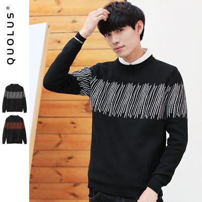 可樂思 線條圖樣 男生針織上衣 毛衣
