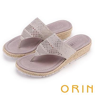 ORIN 夏日舒適時尚 幾何簍空燙鑽夾腳麻邊厚底拖鞋-灰色