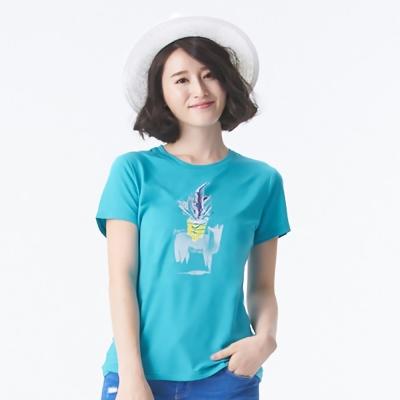 【SNOWFOX 雪狐】女款防曬透氣吸濕排汗短袖聯名圖T恤 AT-81610W 天藍