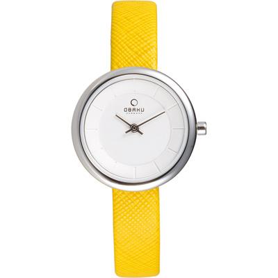 OBAKU 雅悅媛式時尚腕錶-白x黃色錶帶/27mm