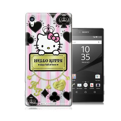 三麗鷗正版 凱蒂貓 Sony Z5 Premium 5.5吋 透明軟式保護殼(撲...