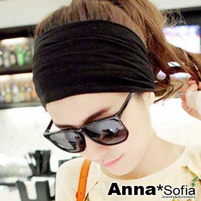 AnnaSofia-寬版光感牛奶絲-運動風彈性髮帶