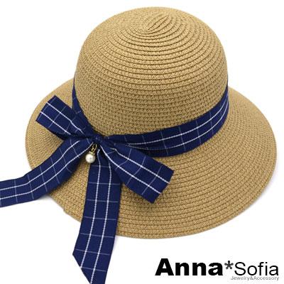 AnnaSofia 知性藍格綁結 寬簷防曬遮陽草帽漁夫帽(駝系)