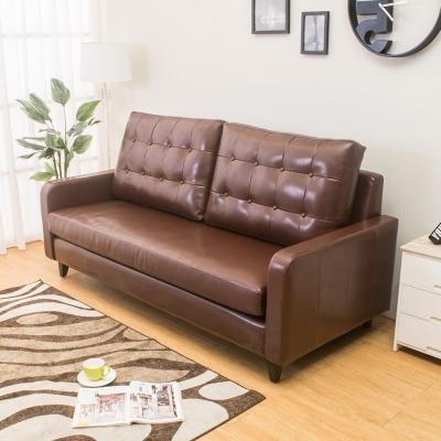 Boden 雷尼時尚復古咖啡色皮沙發三人椅/三人座