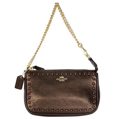 COACH古銅荔枝紋全皮鉚釘貼飾金鍊手提掛小包