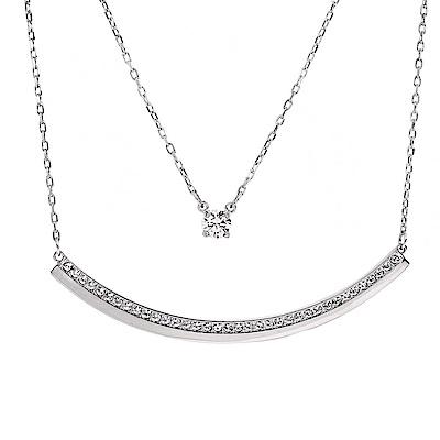 SWAROVSKI 施華洛世奇 微笑弧形x單鑽水晶銀色多層次項鍊