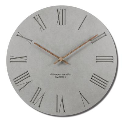 12吋簡約時尚現代居家 清水模羅馬刻度餐廳客廳臥室靜 掛鐘 - 灰色