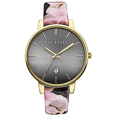 Ted Baker 花漾英倫時尚皮革手錶-灰X花紋帶/40mm