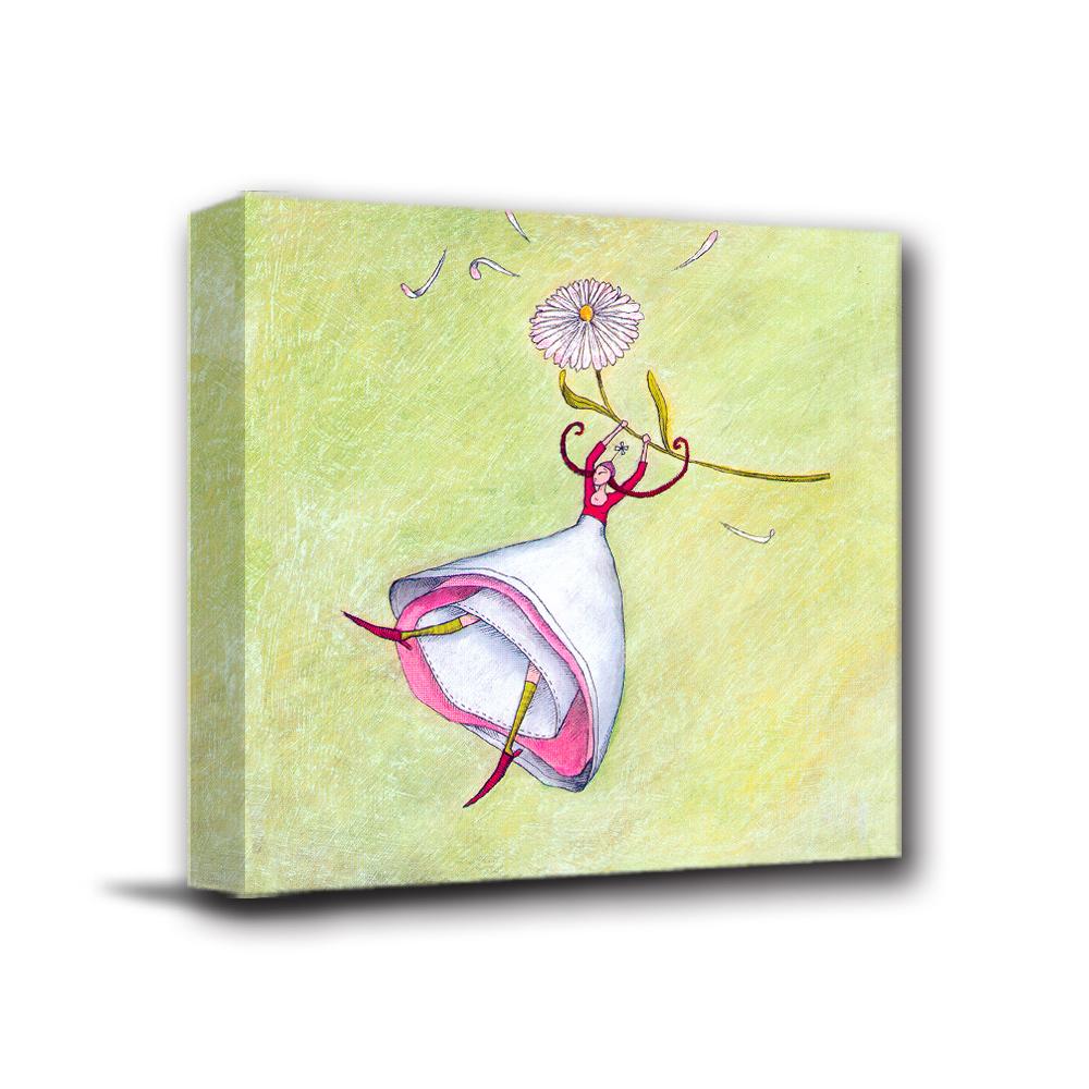 美學365 - 單聯式無框藝術掛畫時鐘 - 飛翔女孩40x40cm