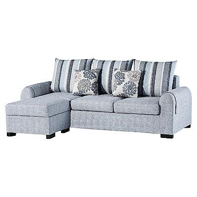 Boden-朵莉L型布沙發(三人座+腳椅)(送抱枕)