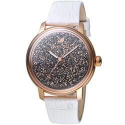 Swarovski 施華洛世奇 璀璨光彩時尚腕錶-玫瑰金x黑色/38mm