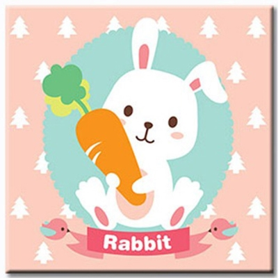 LOVIN 超萌韓版數字油畫 可愛小白兔(04)1幅 20X20
