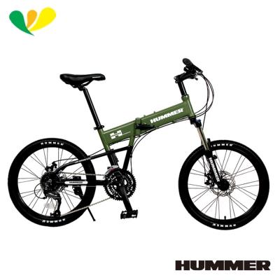 HUMMER-20吋451鋁合金27速機械碟煞折疊車-軍墨綠-HM2700D-G