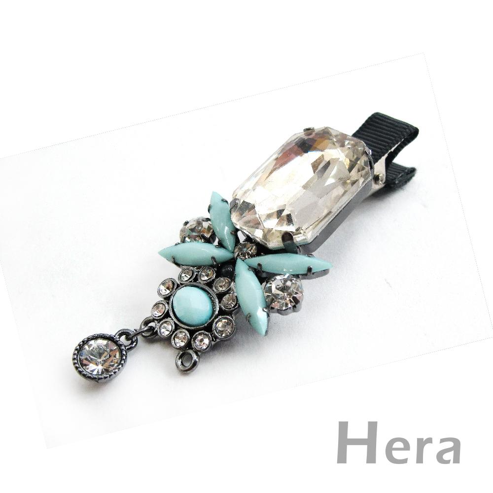 Hera赫拉 蜻蜓飛翔大寶石滿鑽邊夾/髮夾/鴨嘴夾(土耳其藍)
