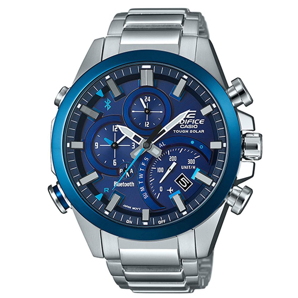 EDIFICE智者前衛科技太陽能藍牙傳輸賽車錶(EQB-501DB-2A)-藍/48.1mm