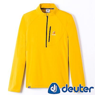 【ATUNAS 歐都納】德國DEUTER男款長袖保暖POLO衫DE-P1403M黃