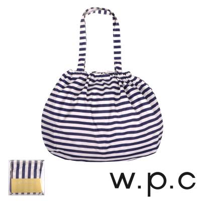 w.p.c 時尚包包雨衣/束口防雨袋 (藍白條紋)