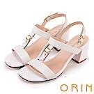ORIN 夏日簡約時尚 皮帶釦環壓紋牛皮粗高跟涼鞋-白色