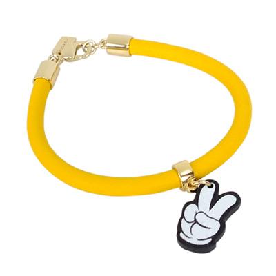 COACHXDISNEY聯名款黃色全皮MICKEYYA手環/手鍊