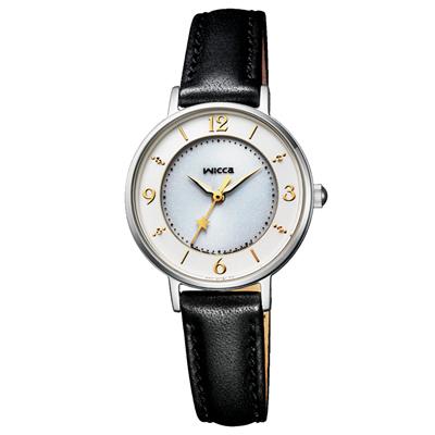 CITIZEN WICCA 星願系列淑女腕錶-黑皮革