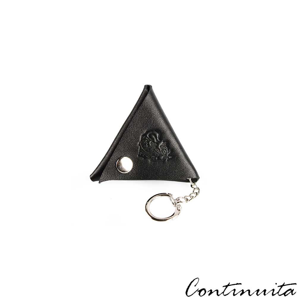 Continuita 康緹尼 頭層牛皮日本小巧LOGO三角形鑰匙包-黑色