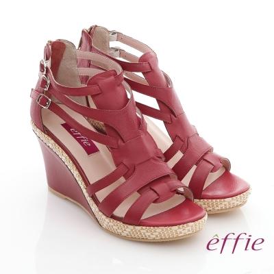 effie 輕音躍 蠟感真皮編織楔型涼鞋 正紅