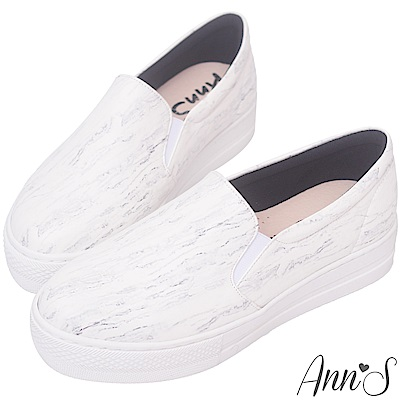 Ann'S進化2.0!大理石紋足弓墊腳顯瘦厚底懶人鞋-白-白