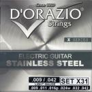 D'ORAZIO 義大利手工製 不鏽鋼材質 電吉他弦(No.X31)