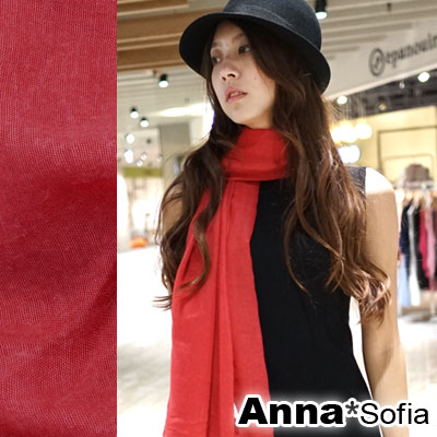 AnnaSofia-軟柔手感棉麻-超大寬版披肩圍巾-玫瑰系-35櫻紅