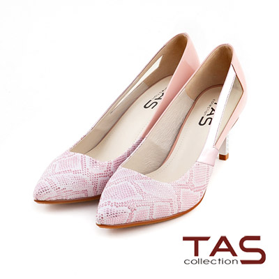 TAS-時尚蟒紋異材質拼接側鏤空高跟鞋-名媛粉