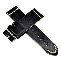 【手表達人】Panerai 沛納海代用進口錶帶-皮革/黑黃/24mm