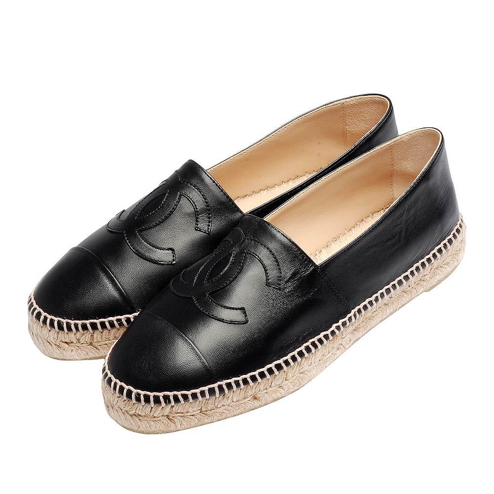 CHANEL 經典Espadrilles小香LOGO小羊皮厚底鉛筆鞋(黑)