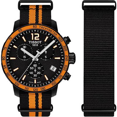 TISSOT 天梭表 QUICKSTER NATO 活力運動腕錶-黑x橘/42mm